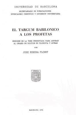 El Targum Babilónico a los Profetas