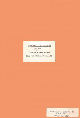 Programa, bibliografía y memoria sobre la Lengua Hebrea