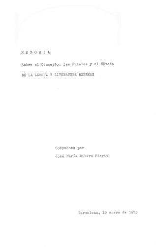 Memoria sobre el concepto, las fuentes y método de la Lengua y Literatura Hebreas