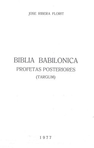 Biblia babilónica: Profetas Posteriores (Tárgum)
