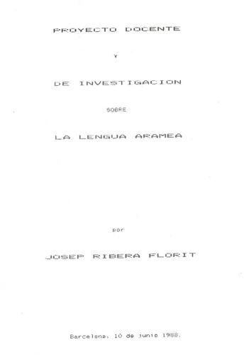 Proyecto docente y de investigación sobre la Lengua Aramea